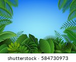 background of tropical leaves.... | Shutterstock .eps vector #584730973