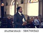 church people believe faith...   Shutterstock . vector #584744563