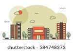 modern street scenery in flat... | Shutterstock .eps vector #584748373