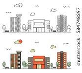 modern street scenery in... | Shutterstock .eps vector #584748397
