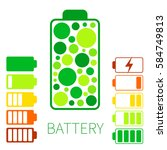 set color battery icon.... | Shutterstock .eps vector #584749813