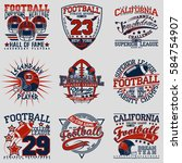 set of grunge sport t shirt... | Shutterstock .eps vector #584754907