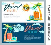 vector gift travel voucher... | Shutterstock .eps vector #584763913