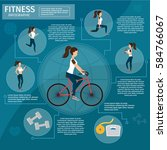healthy lifestyle infographic... | Shutterstock .eps vector #584766067