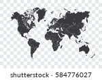 illustrated world map with the... | Shutterstock . vector #584776027
