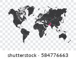 illustrated world map with the... | Shutterstock . vector #584776663