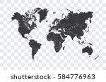 illustrated world map with the... | Shutterstock . vector #584776963