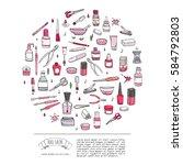 hand drawn doodle nail salon... | Shutterstock .eps vector #584792803
