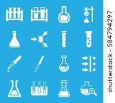experiment icons set. set of 16 ... | Shutterstock .eps vector #584794297