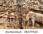 Seashore Temple at Mahabalipuram, India. - stock photo
