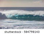 blue ocean shorebreak wave for... | Shutterstock . vector #584798143