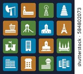 tower icons set. set of 16... | Shutterstock .eps vector #584802073