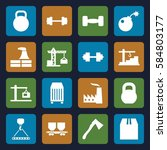 heavy icons set. set of 16... | Shutterstock .eps vector #584803177