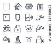 security icons set. set of 16... | Shutterstock .eps vector #584808673