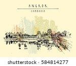 angkor wat  cambodia. hindu... | Shutterstock .eps vector #584814277