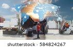 global network coverage world...   Shutterstock . vector #584824267
