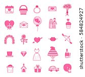 wedding outline icons vector... | Shutterstock .eps vector #584824927