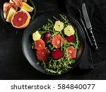 vegetarian citrus salad  in... | Shutterstock . vector #584840077