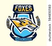 colourful emblem  logo  sticker ... | Shutterstock .eps vector #584850583