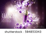 purple flower skincare product... | Shutterstock .eps vector #584853343