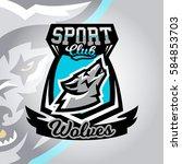 colorful logo  emblem  a wolf... | Shutterstock .eps vector #584853703