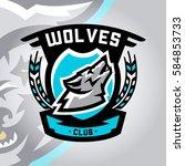 colorful logo  emblem  a wolf... | Shutterstock .eps vector #584853733