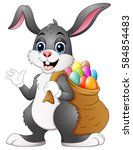 easter bunny rabbit with easter ... | Shutterstock . vector #584854483