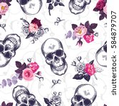 seamless pattern with human... | Shutterstock .eps vector #584879707