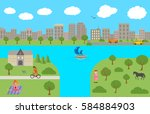 panorama. landscape. summer... | Shutterstock . vector #584884903