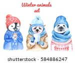 winter animals set watercolor... | Shutterstock . vector #584886247
