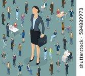 businesswoman big boss leader... | Shutterstock .eps vector #584889973