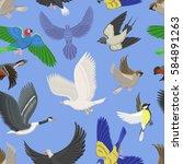 set of different wing wild... | Shutterstock .eps vector #584891263