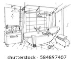 hand drawn modern bathroom... | Shutterstock .eps vector #584897407