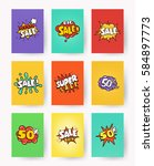 set of promotional labels with... | Shutterstock .eps vector #584897773