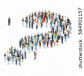 people crowd question mark... | Shutterstock .eps vector #584901157