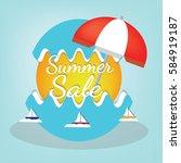 summer logo background vector... | Shutterstock .eps vector #584919187