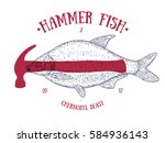 abstract  vintage fish with red ... | Shutterstock .eps vector #584936143