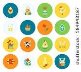celebration easter icons.... | Shutterstock .eps vector #584943187
