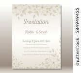 wedding card or invitation with ... | Shutterstock .eps vector #584949433