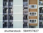 apartment building windows... | Shutterstock . vector #584957827