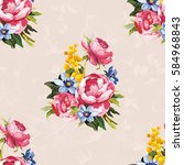 seamless floral pattern with... | Shutterstock .eps vector #584968843