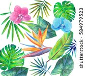 pattern from tropical leaves... | Shutterstock . vector #584979523