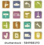 plumbing service vector icons... | Shutterstock .eps vector #584988193