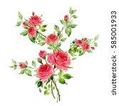flower watercolor composition... | Shutterstock . vector #585001933