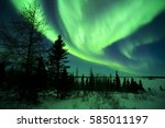 Night sky lit up with aurora borealis, northern lights, Wapusk national park, Manitoba, Canada.