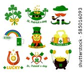 symbols of ireland flag and... | Shutterstock .eps vector #585016093