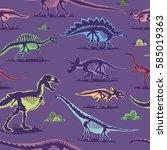 dinosaur vintage color seamless ... | Shutterstock .eps vector #585019363