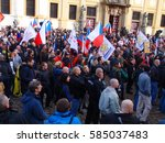 protest against migrants europe ...   Shutterstock . vector #585037483