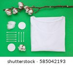 organic white cotton flat lay... | Shutterstock . vector #585042193