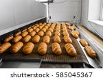 loafs of fresh hot bread out of ... | Shutterstock . vector #585045367